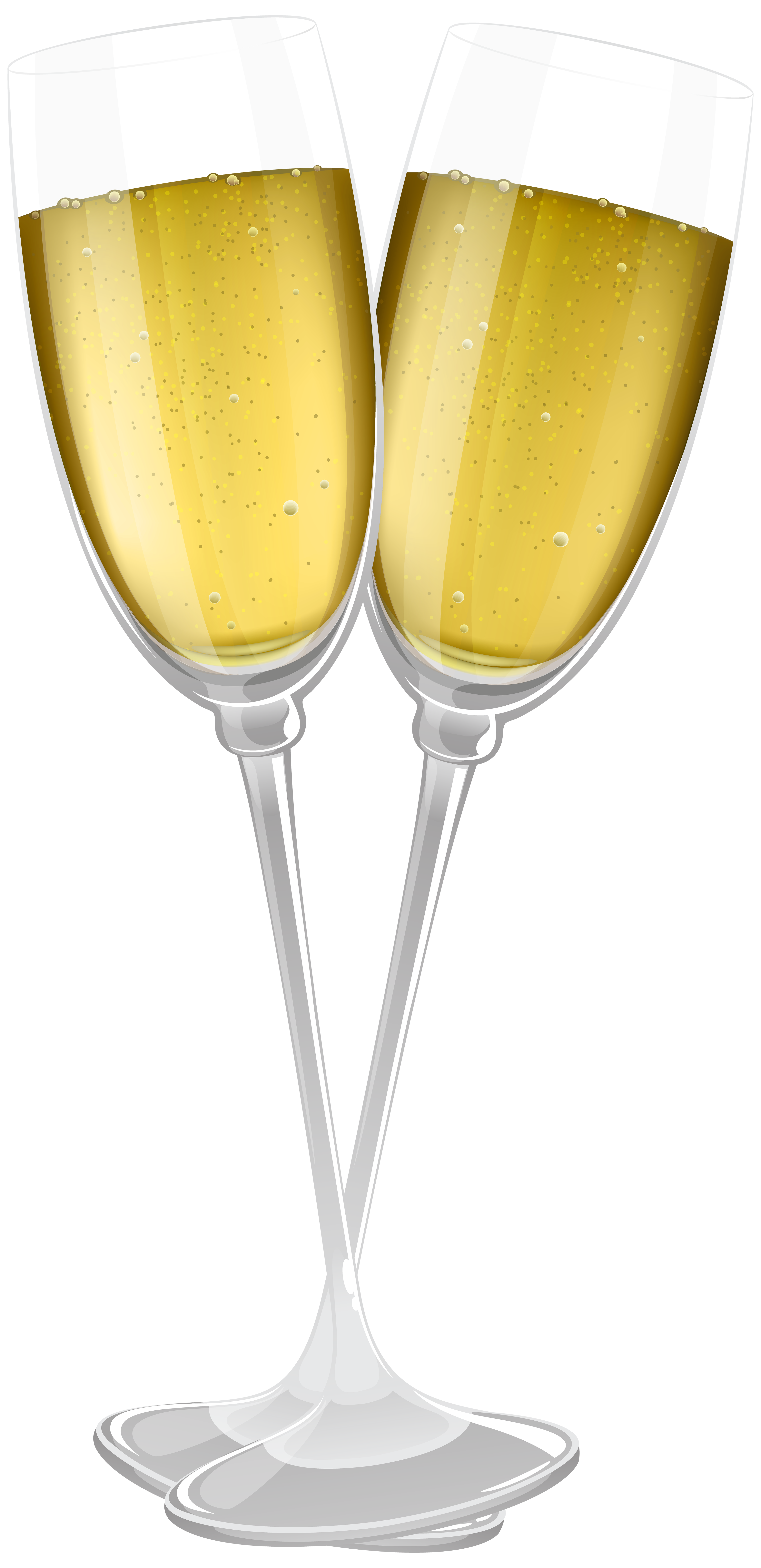 Glasses of champagne transparent. Cocktails clipart two