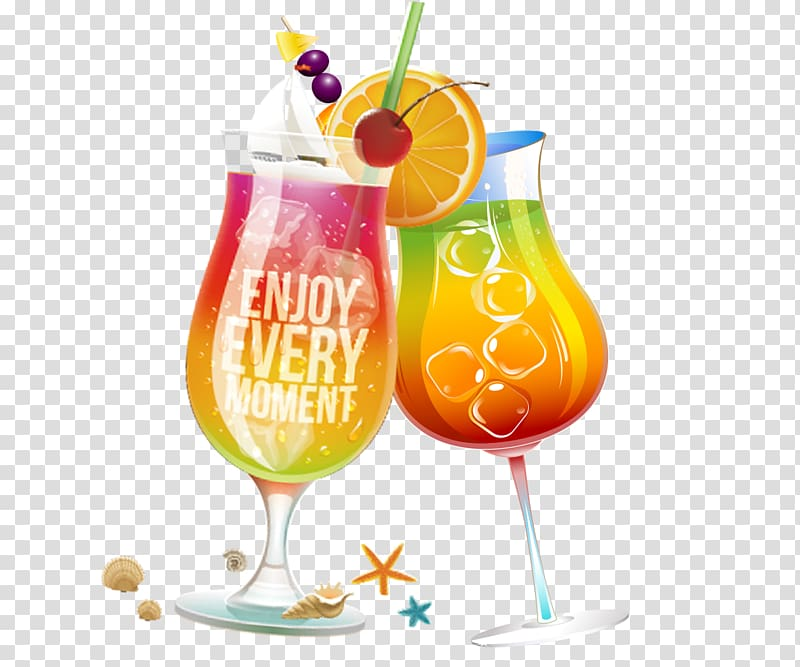 Wine cups orange juice. Cocktails clipart two
