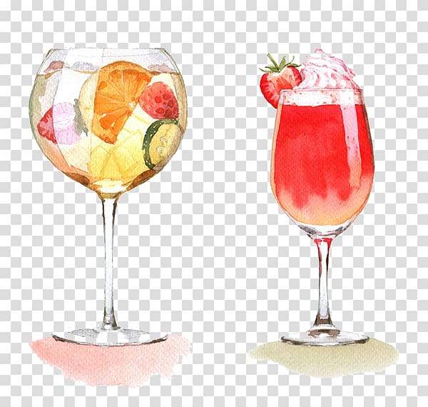 Clear footed glasses wine. Cocktail clipart two
