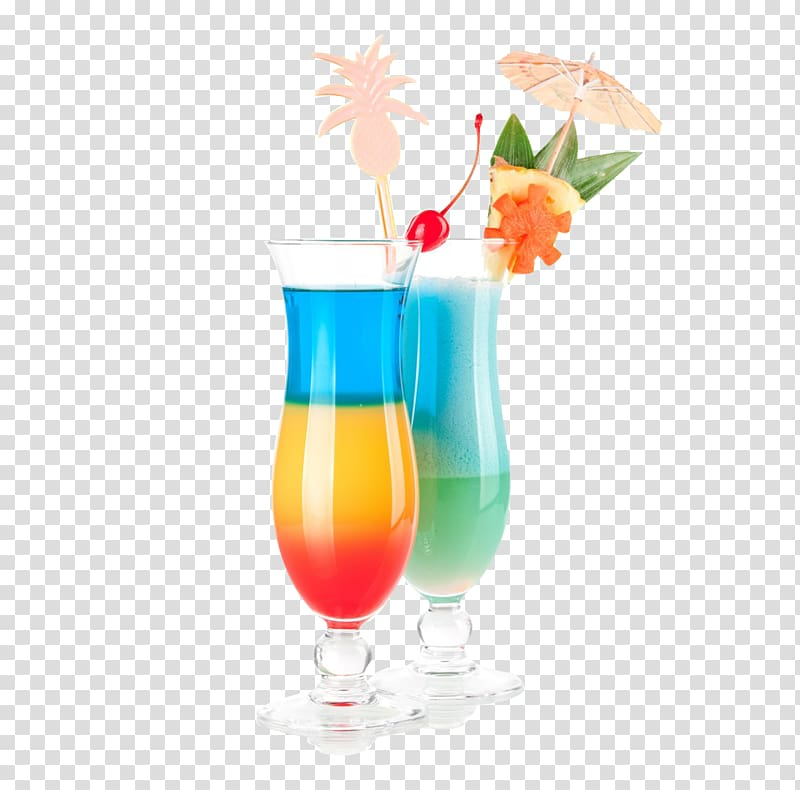 Cocktails in glasses umbrella. Cocktail clipart two