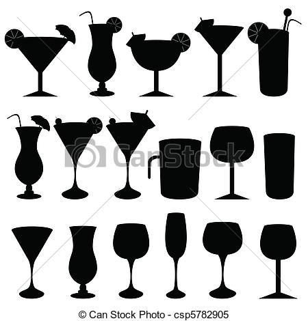Drinks clipart vector. Of alcoholic and glasses