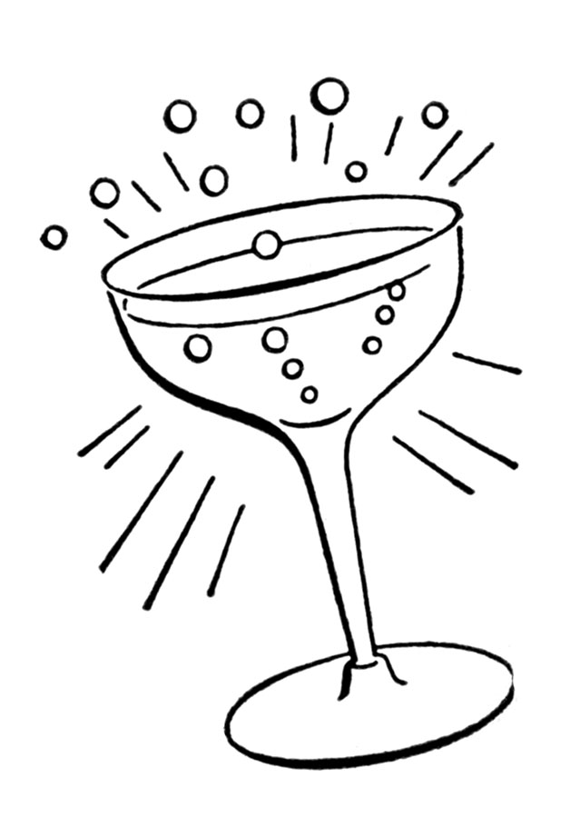 Retro line drawings cocktail. Glass clipart vintage glass