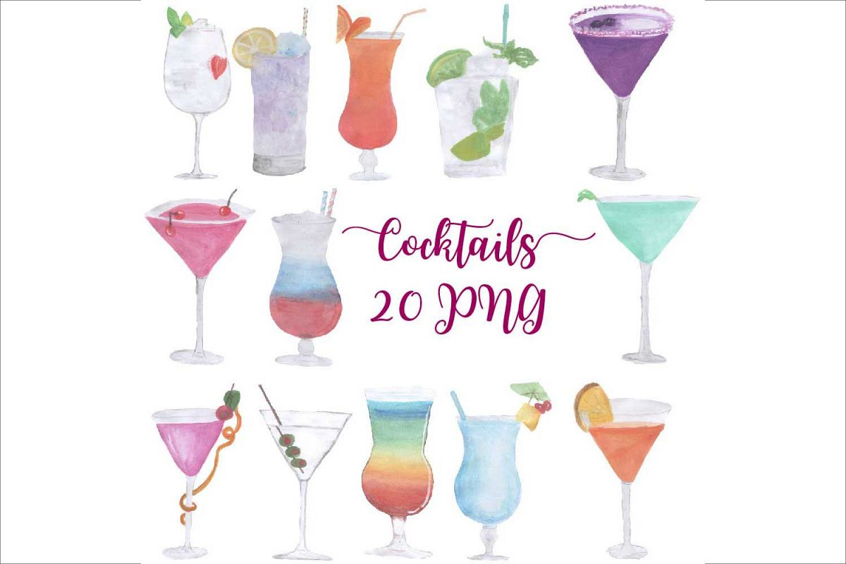 Cocktail clipart watercolor. Hand drawn cocktails