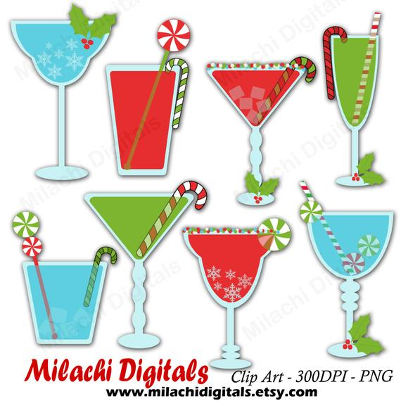 Christmas holiday drinks vector. Cocktails clipart winter