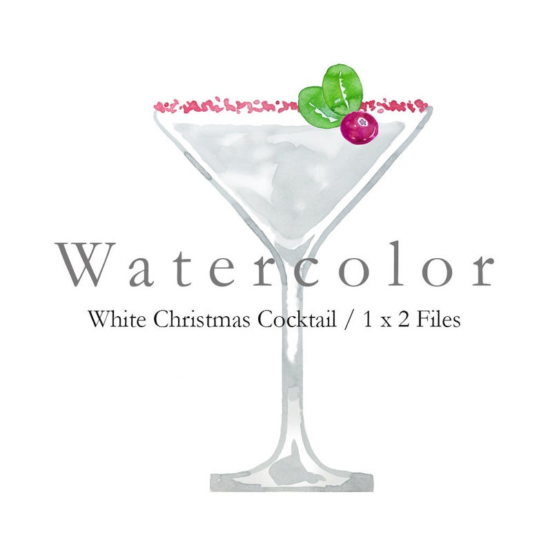 Watercolor white christmas cocktail. Cocktails clipart winter