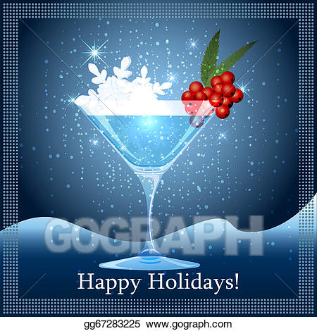 Cocktails clipart winter. Vector illustration snowflake cocktail