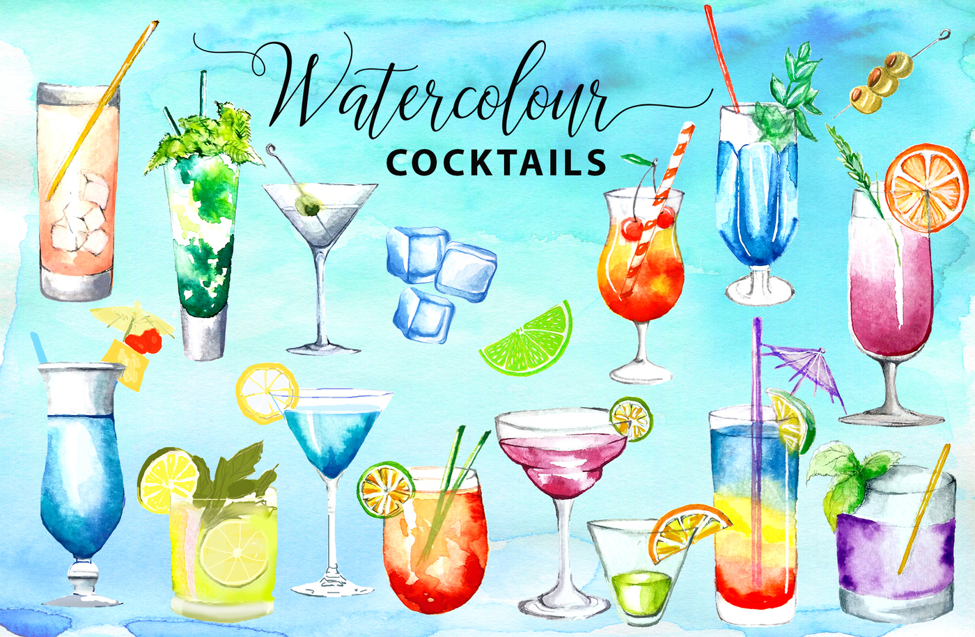Cocktails clipart. Watercolor drinks by victorias