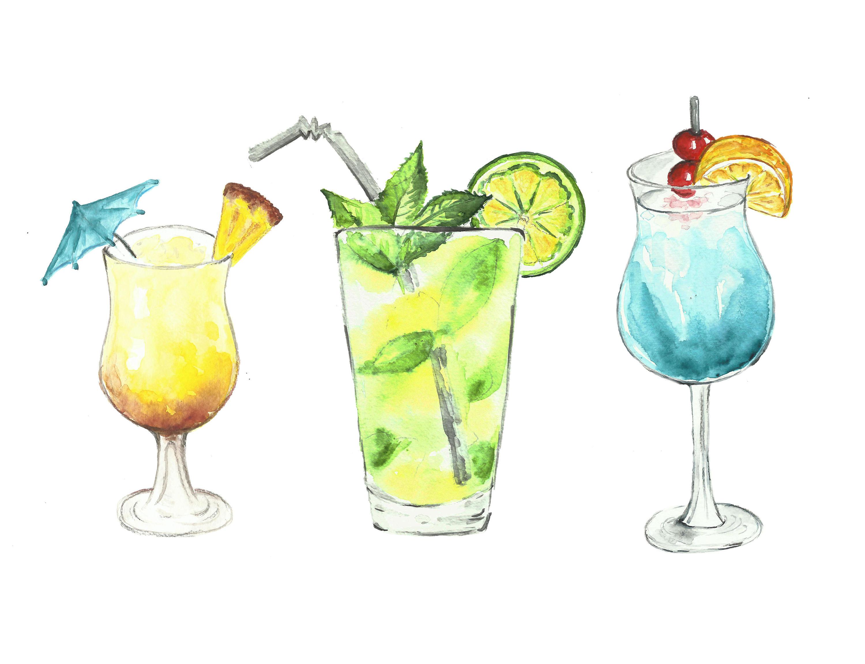 Cocktails clipart. Watercolor drinks clip art