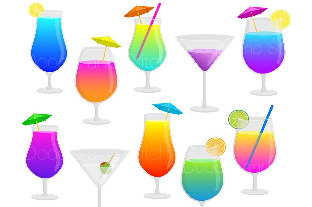 Cocktail drinks illustrations b. Cocktails clipart