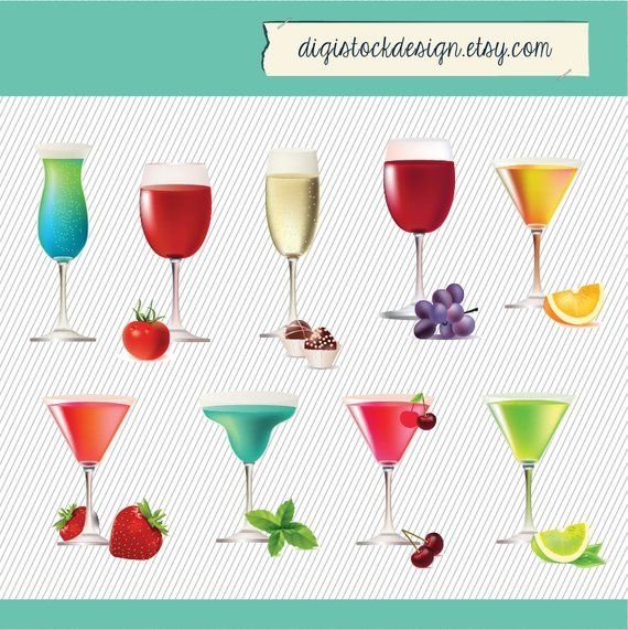 Set of drinks juicy. Cocktails clipart cocktail dinner