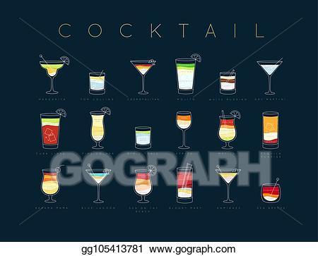 Cocktails clipart cocktail menu. Vector poster flat dark