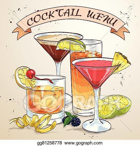 Vector contemporary classics . Cocktails clipart cocktail menu