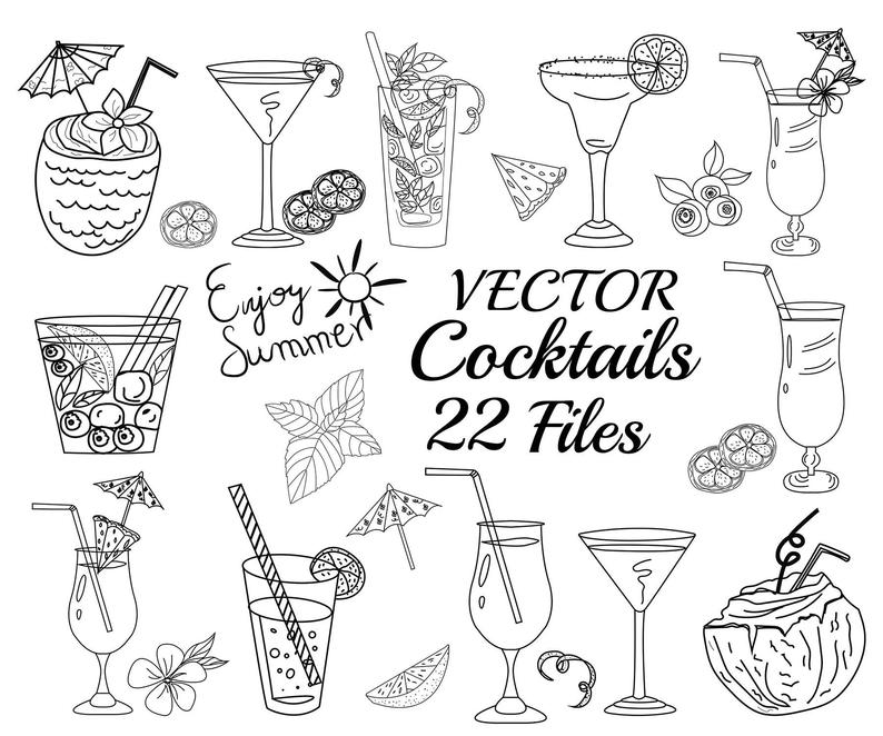 Cocktails clipart cocktail reception. Vector party drawings alcohol
