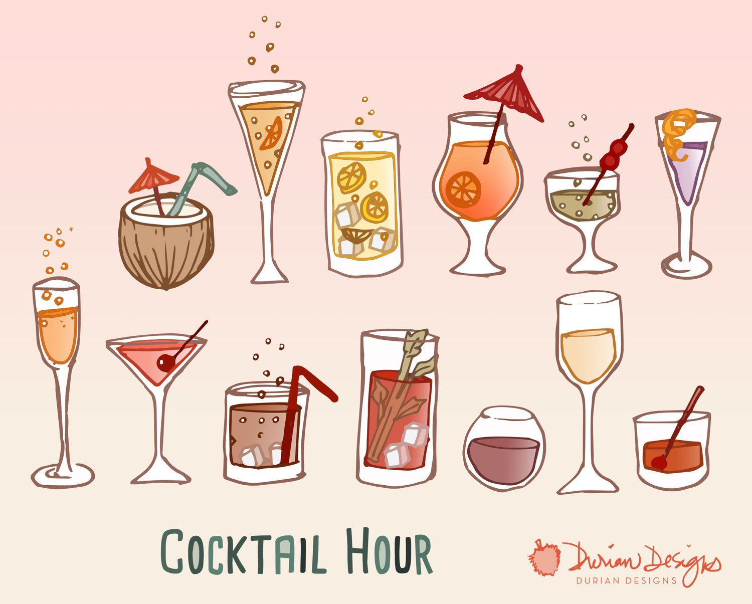 Cocktails clipart cocktail reception. Retro party commercial use