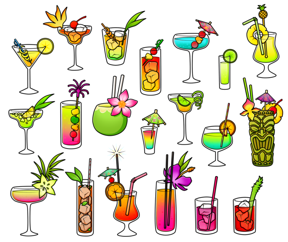 Free fruity coloured by. Cocktails clipart colorful