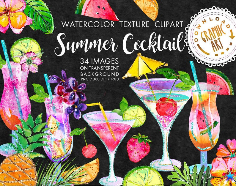 Cocktails clipart exotic. Summer cocktail tropical clip