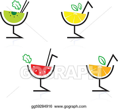 Vector art colorful mixed. Cocktails clipart fruit cocktail