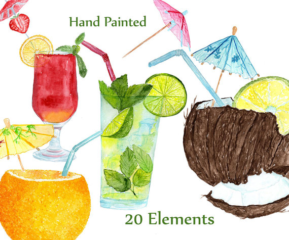 Cocktails clipart fruit cocktail. Watercolor summer drinks