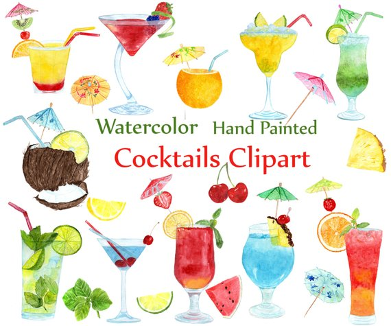 Watercolor summer drinks . Cocktails clipart fruit cocktail