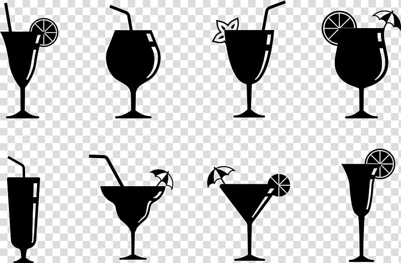 Eight martini glasses illustration. Cocktails clipart mix drink