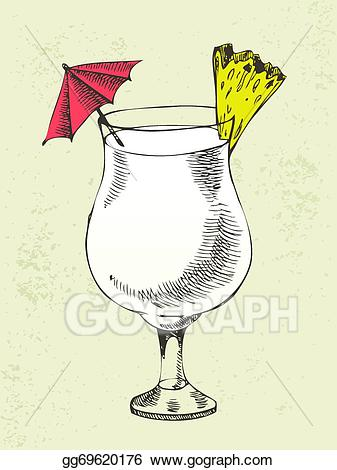 Vector art cocktail with. Cocktails clipart pina colada glass
