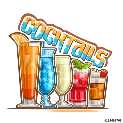 Vector illustration of set. Cocktails clipart refreshing