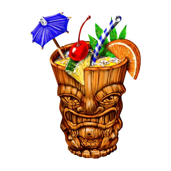Cocktail with umbrella decal. Cocktails clipart tiki drink