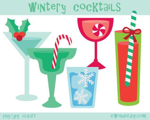 Cocktails clipart winter. Christmas clip art party