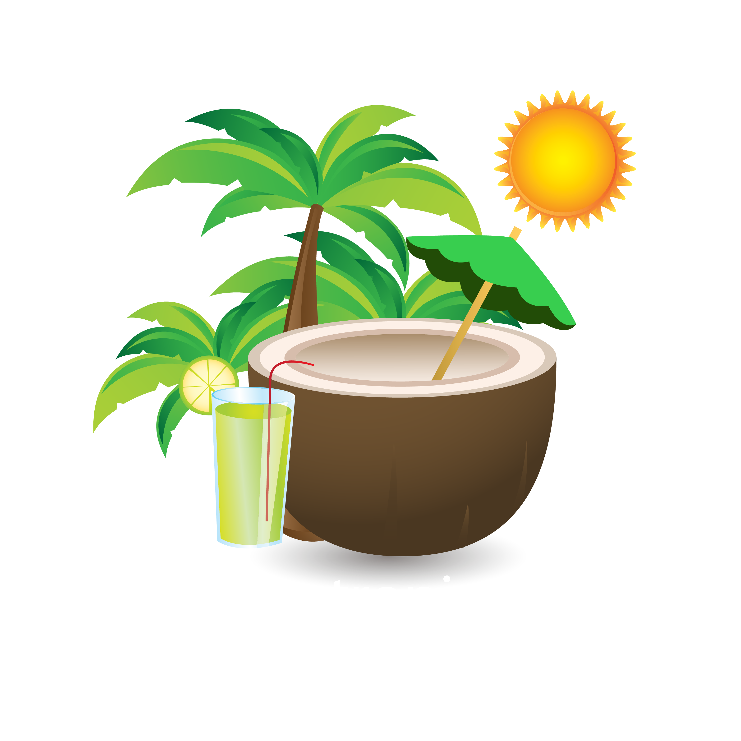 Download summer drink material. Coconut clipart coconut cup