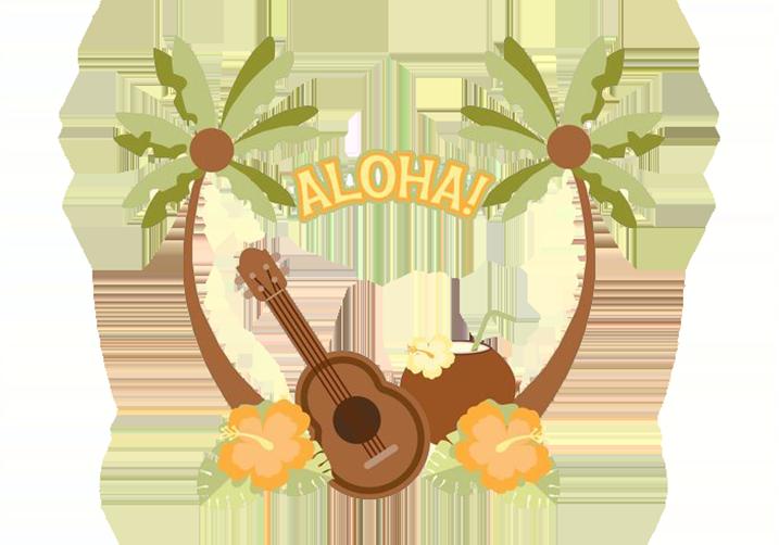 Hawaiian ukulele illustration coconut. Foods clipart beach