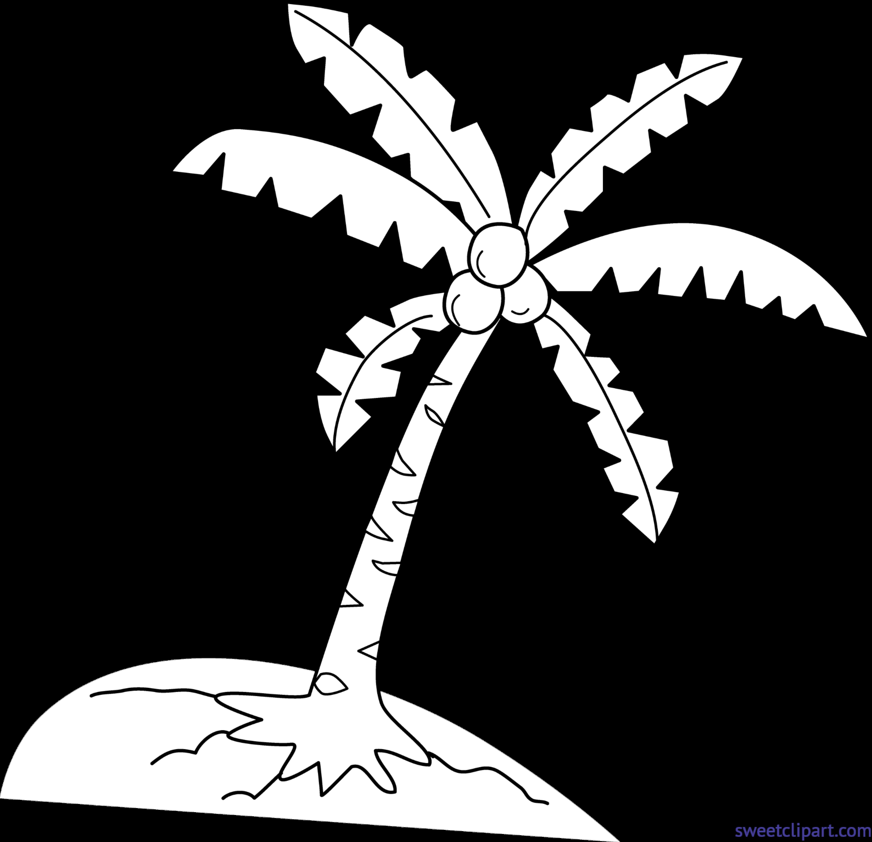 Coconut clipart cute. Tree lineart clip art