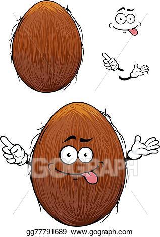 Eps vector cute happy. Coconut clipart face
