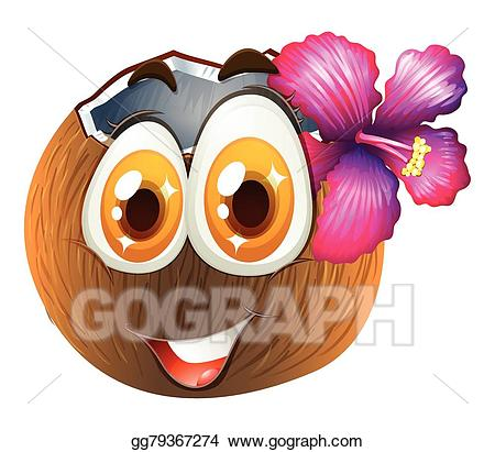 Coconut clipart face. Eps illustration with happy