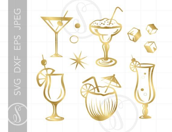 Cocktails svg clip art. Coconut clipart gold cocktail