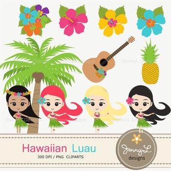 Luau party hula girls. Coconut clipart hawaiian theme