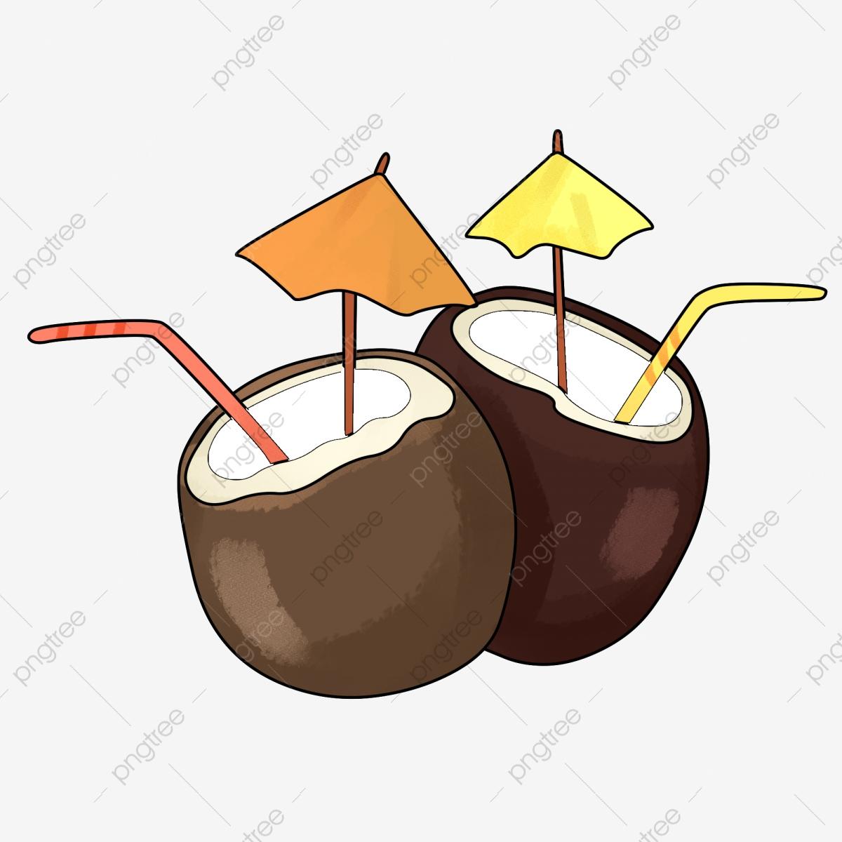 Delicious yellow umbrella hand. Coconut clipart straw clipart