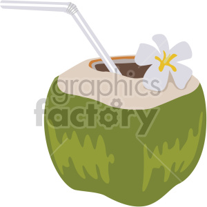 Coconut clipart straw clipart. Water flat icons royalty