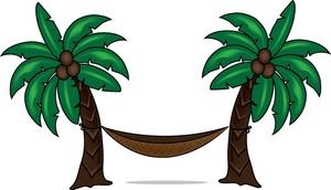 Coconut clipart two tree. Hammock image hanging between