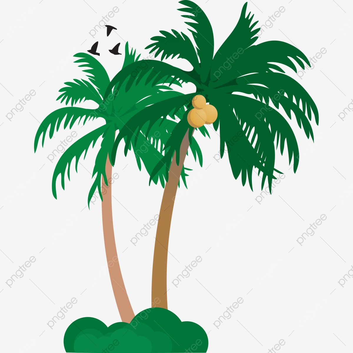 coconut clipart two tree