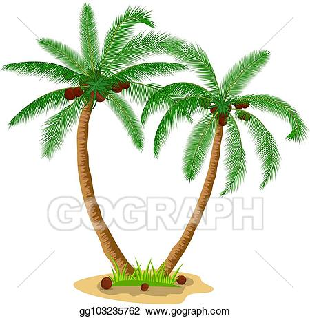 Eps illustration palm trees. Coconut clipart two tree