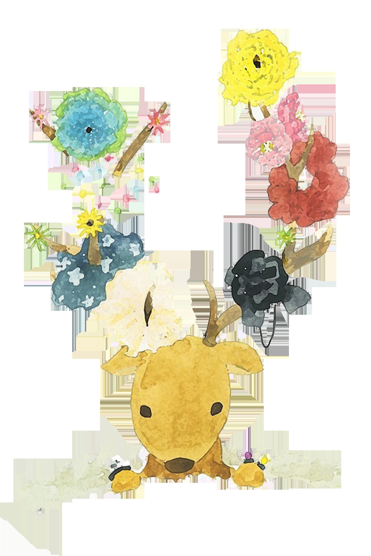Watercolour flowers watercolor painting. Floral clipart deer antler