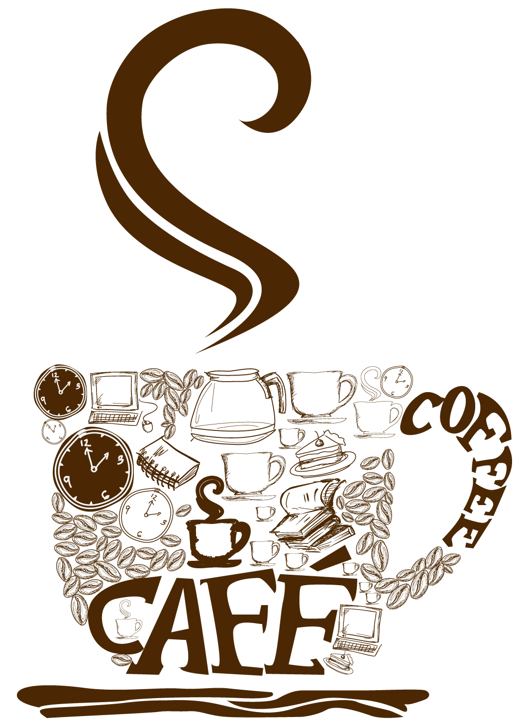 Decorative cup png vector. Coffee clipart book