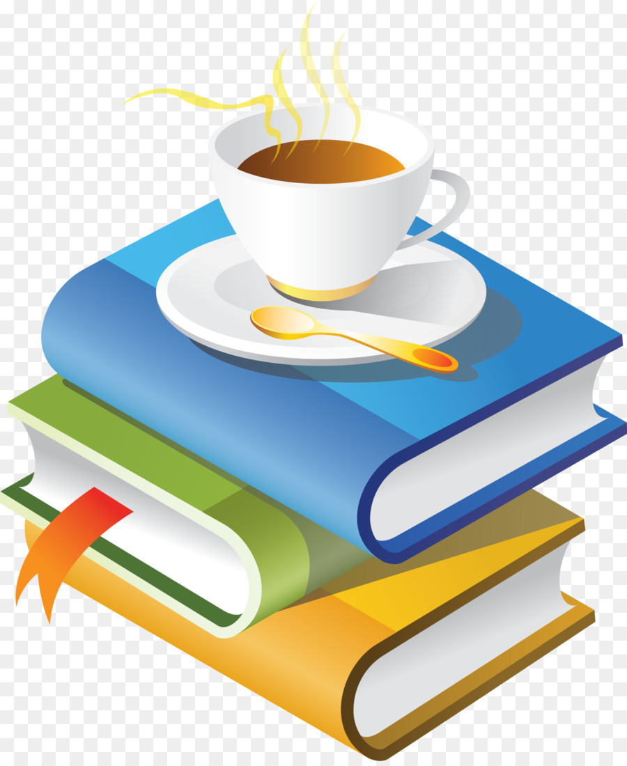 Coffee clipart book. Cup of illustration yellow