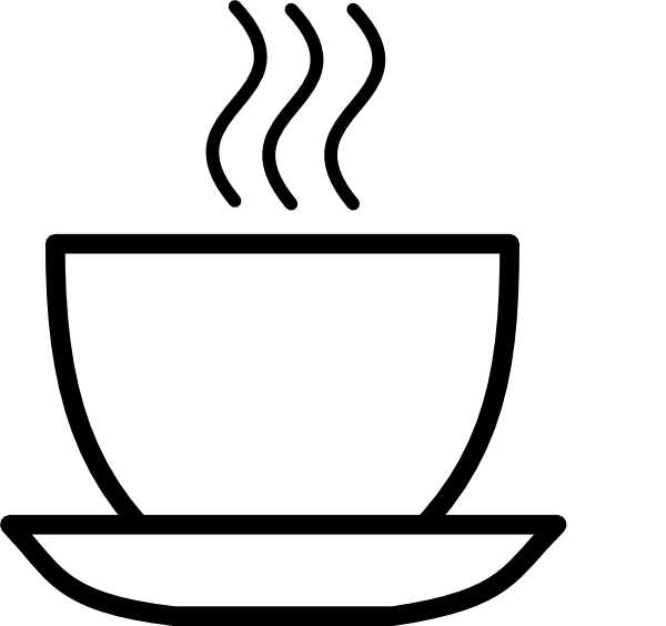 Black and white coffee. Mug clipart steam clipart
