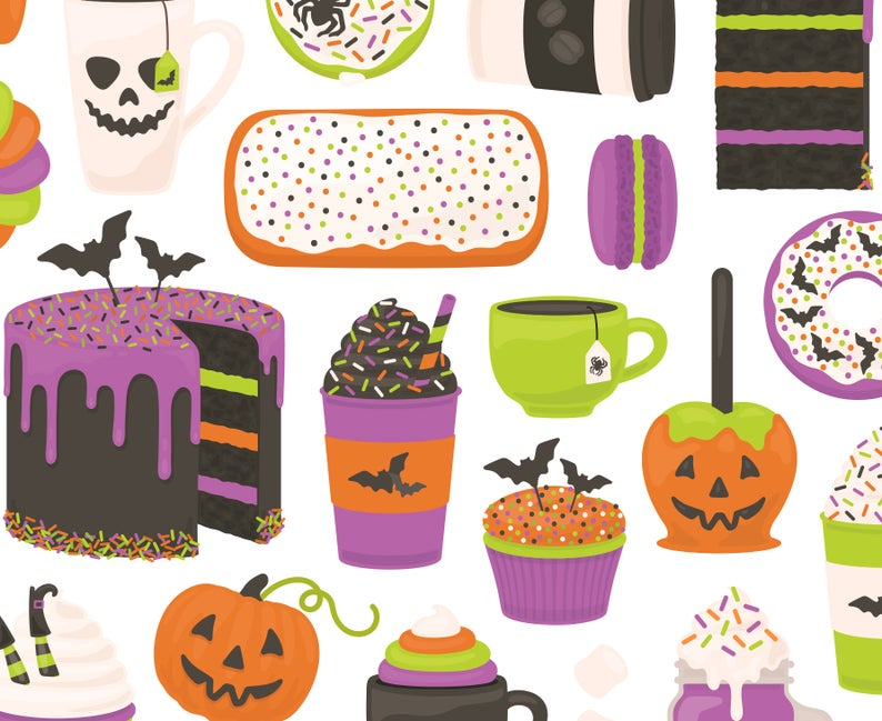 Desserts and drinks donut. Coffee clipart halloween