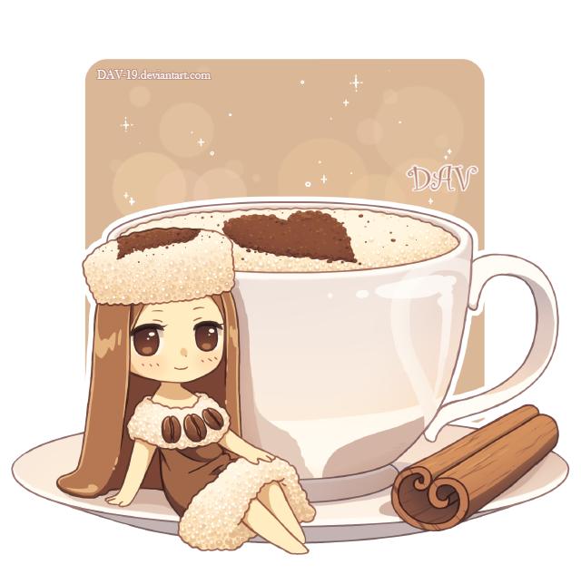 Cappuccino gijinka by dav. Drink clipart kawaii