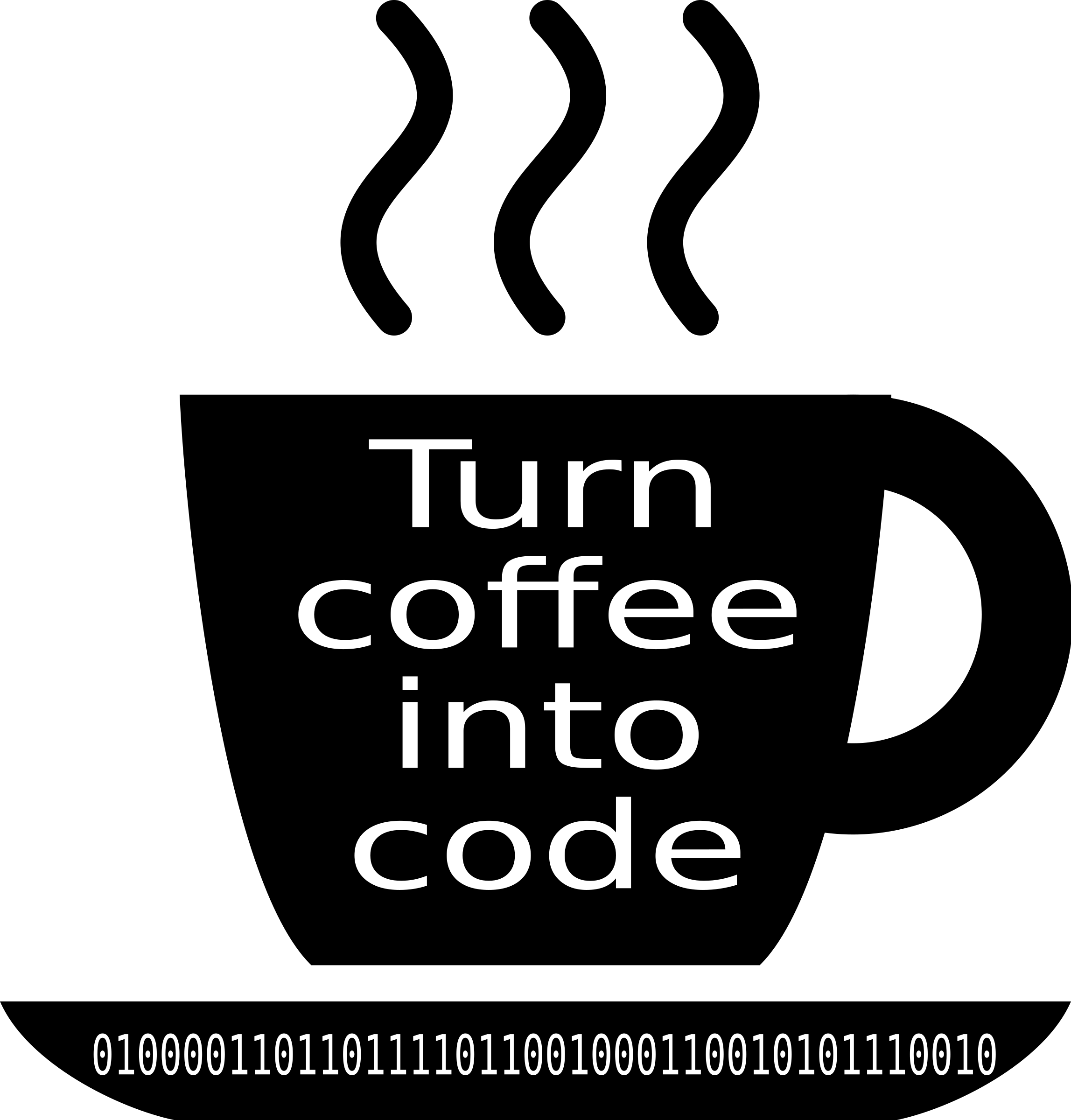 Turn coffee into code. Cup clipart vector