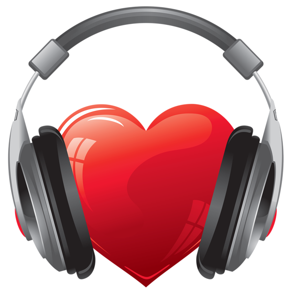 Headphones clipart sign. Heart with png image