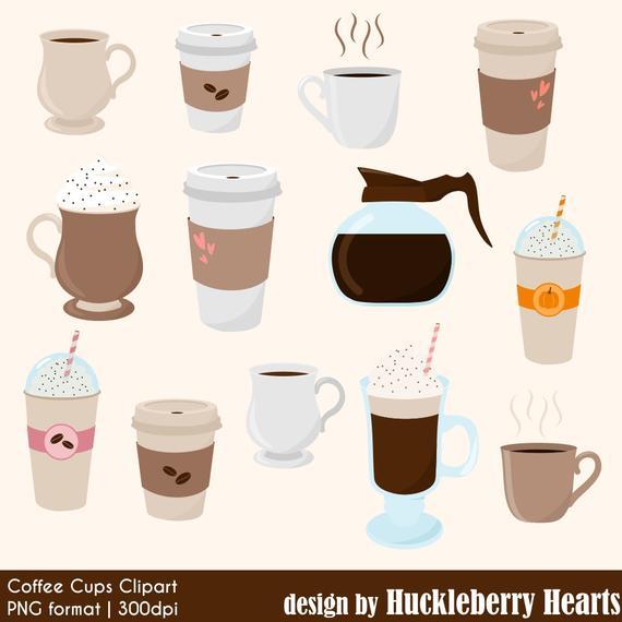 Coffee clipart summer. Digital cups mugs latte