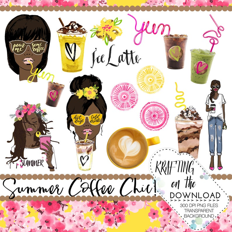 Watercolor png file ice. Coffee clipart summer